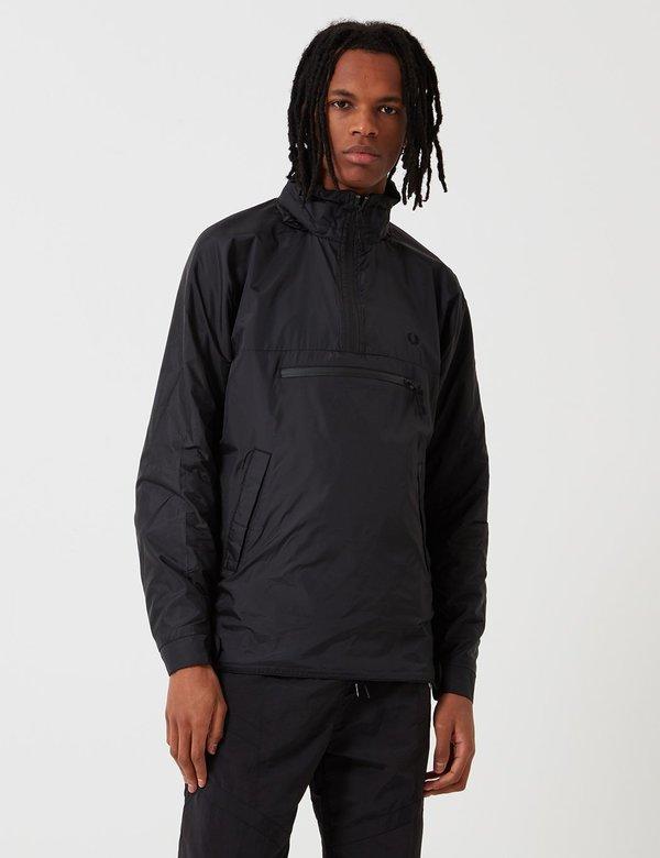 Fred Perry Half Zip Hooded Jacket Black on Garmentory