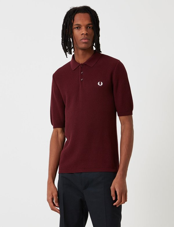 fred perry re issues texture knit polo shirt aubergine. Black Bedroom Furniture Sets. Home Design Ideas