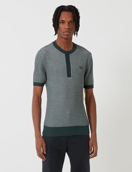 Fred Perry Re-issues Two Colour Knit Button Neck Shirt - Tartan Green