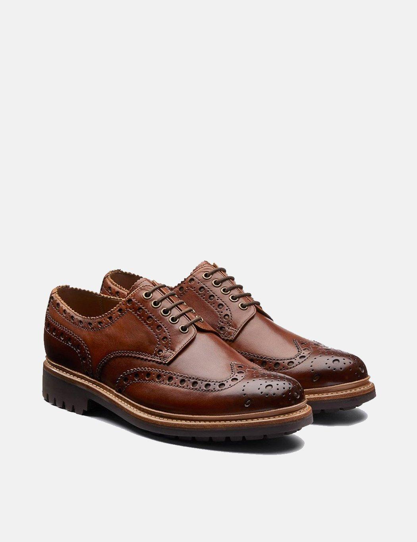 Grenson Archie Brogue Shoes - Tan