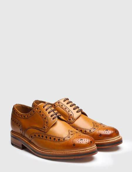 Grenson Leather Archie Brogue Shoes - Tan