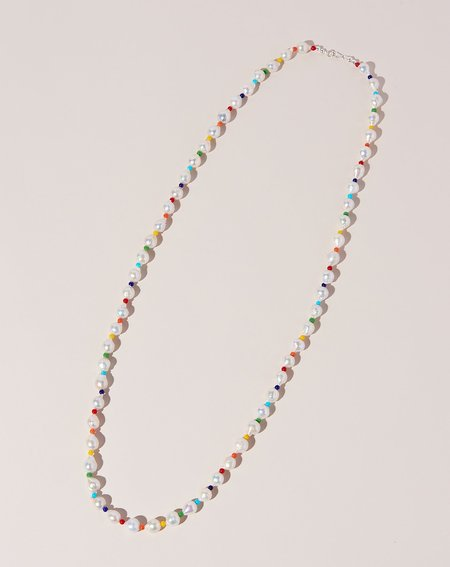 Fry Powers Baroque Pearl Rope Necklace - Rainbow/Sterling Silver