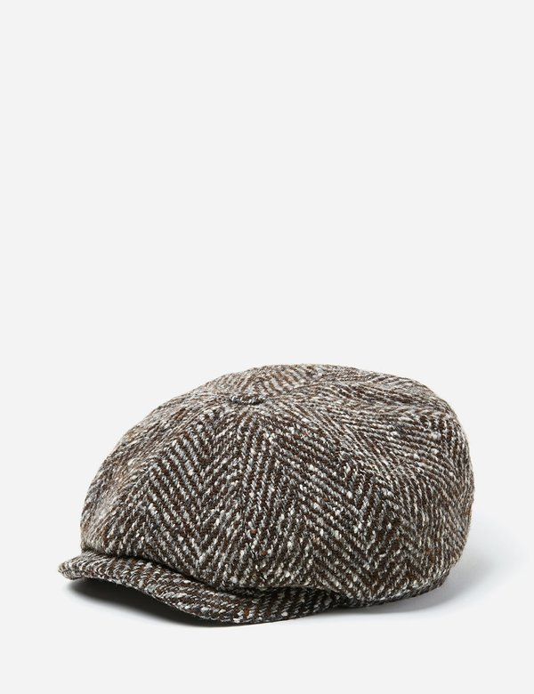Stetson Hatteras Herringbone Newsboy Cap - Grey Brown  7f768a4e4a1