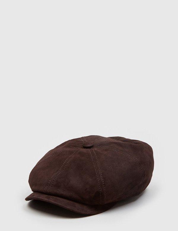 e706f731c0ce4 Stetson Hatteras Suede Newsboy Cap - Dark Brown