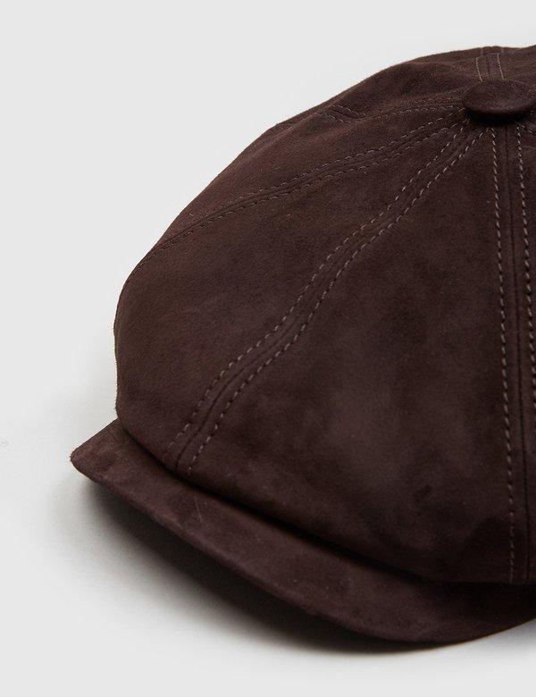 66991e9c2fd02 Stetson Hatteras Suede Newsboy Cap - Dark Brown