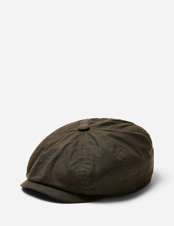 5d4b98095ac Stetson Hatteras Waxed Cotton Newsboy Cap - Dark Brown