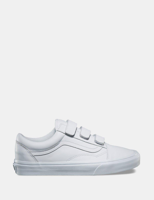 Vans Mono Leather Old Skool Velcro True White