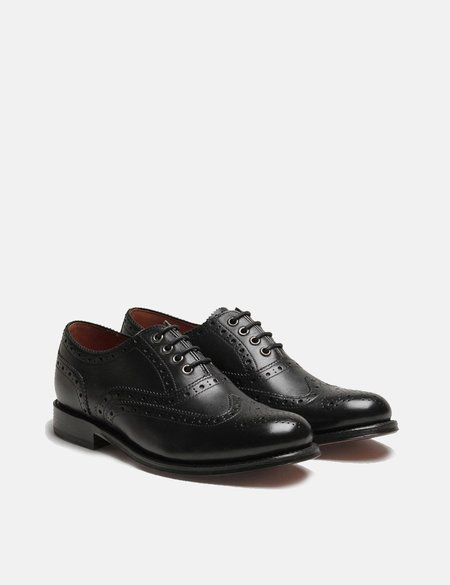 Grenson Rose Brogue Shoes - Black/Black