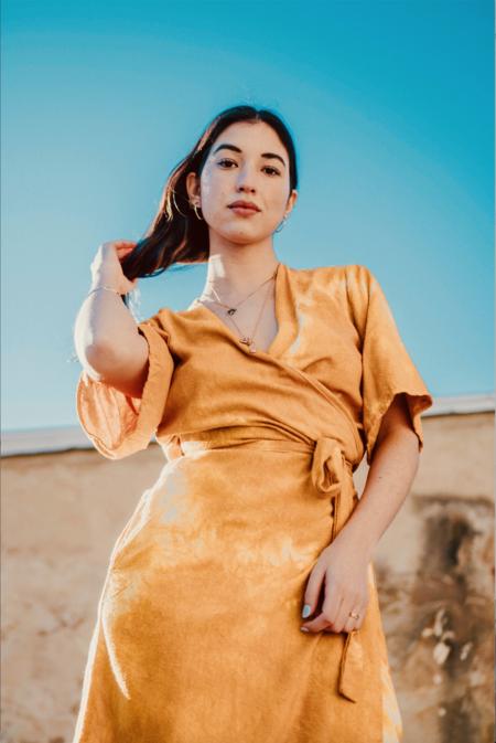 Riverside Tool & Dye Simone Raw Silk Wrap Dress - Sunset