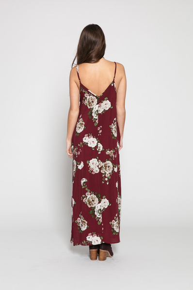 WONDERLAND HONOLULU Cardiff Maxi Dress - Wine Floral