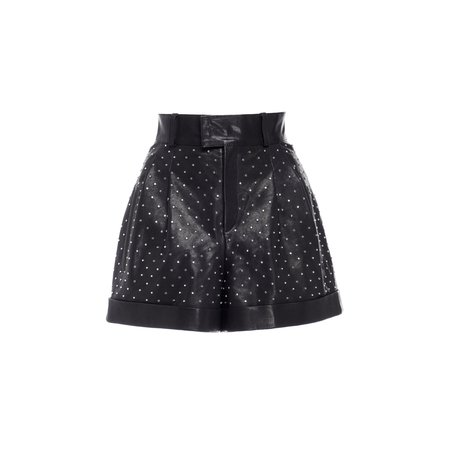 Nour Hammour Cameron Studded Leather Shorts - Black/Silver