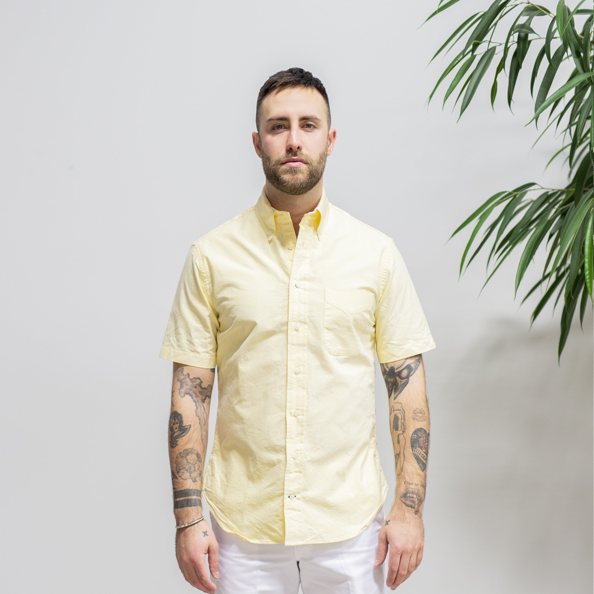 Gitman Bros Button Front Shirt Short Sleeve Cotton Sz S Yellow Green//Blue Palm