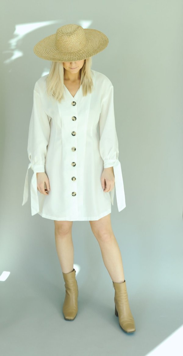Six Crisp Days Button Down Pretoria Dress - White