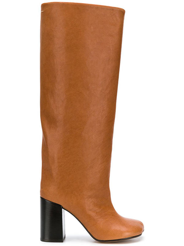 MM6 Tall Leather Boot - Pecan