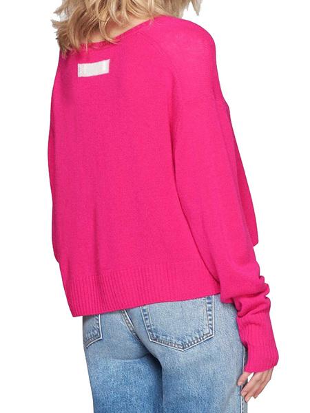 RE/DONE Cashmere V-neck Sweater - Fushcia