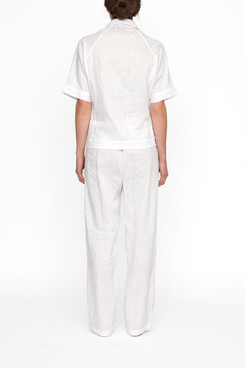The Sleep Shirt Raglan Pyjama Top White Linen
