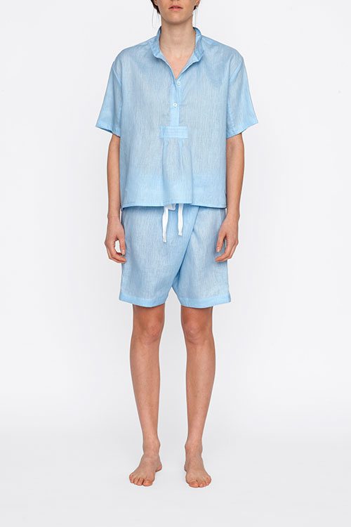 The Sleep Shirt Short Sleeve Cropped Sleep Shirt Spa Blue Linen