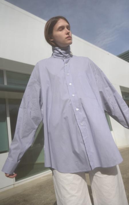 DRESS Oversize Easy Adapter City Shirt - Fine Navy Stripe