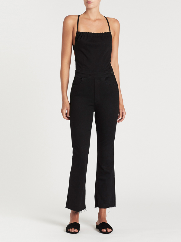 Official Website half off hot-selling professional Mother Denim Tie Back Hustler Ankle Fray Jumpsuit - Not Guilty on Garmentory