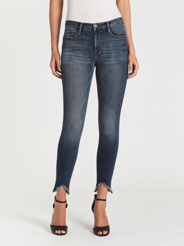 c081ec67a FRAME Denim Le High Skinny Triangle Raw Jeans - Selman | Garmentory