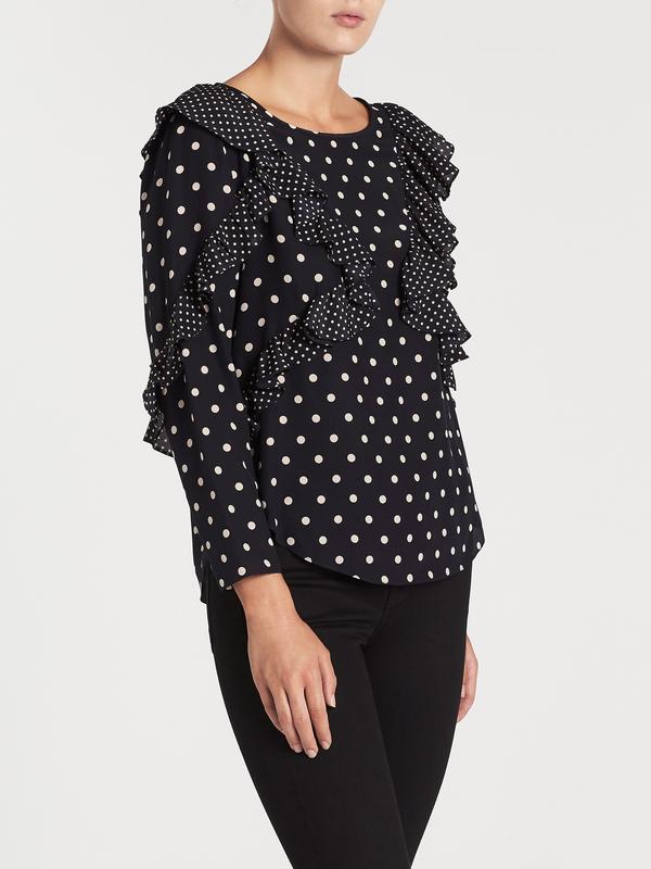 5fbdf74d78a7 Rebecca Taylor Long Sleeve Dot Ruffle Top - Navy | Garmentory
