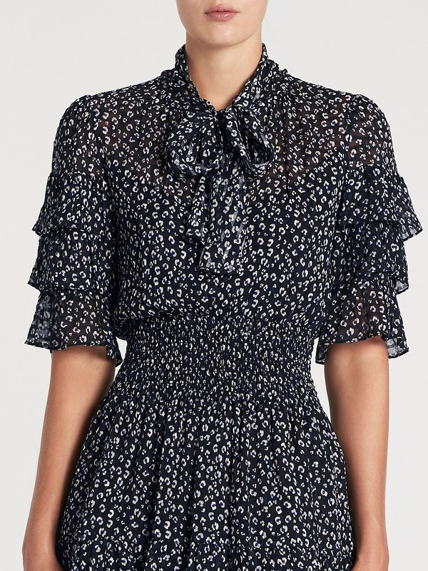 Rebecca Taylor Short Sleeve Mini Dress - Cheetah