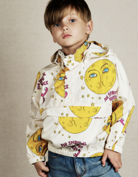 KIDS Mini Rodini Moon Jacket - White/Yellow