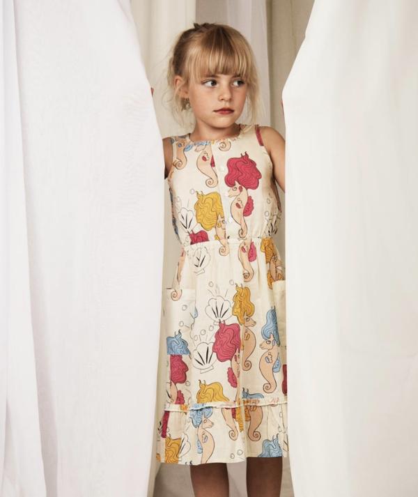Kids Mini Rodini Seahorse Flounce Dress - white