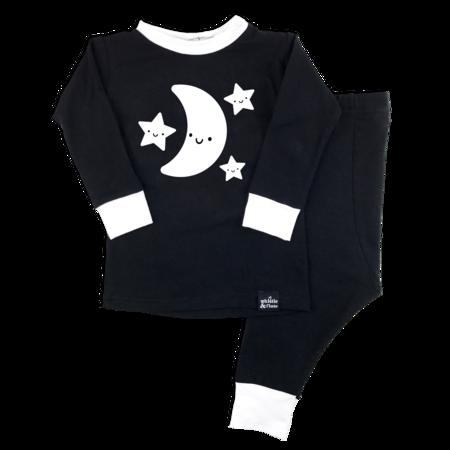 Kids WHISTLE & FLUTE Kawaii Moon & Stars Pajama Set - black