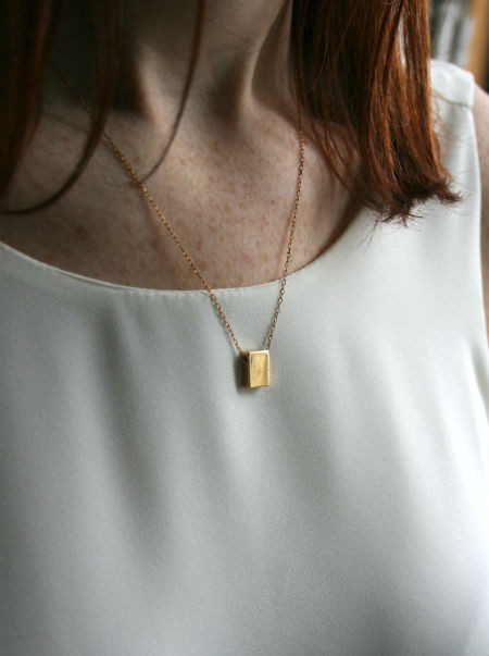 LAURA LOMBARDI Small Rectangle Necklace