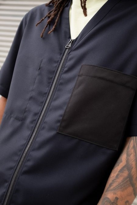 Lanvin Contrast Pocket V-Neck Zip Shirt