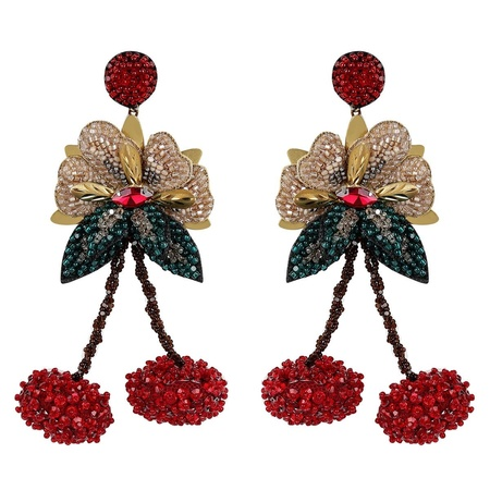Deepa Gurnani Cherry Earring - Red/Multi