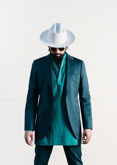 Dushyant Asthana Oversized Garment Dyed Pop-Over Bombay Shirt - Dark Green