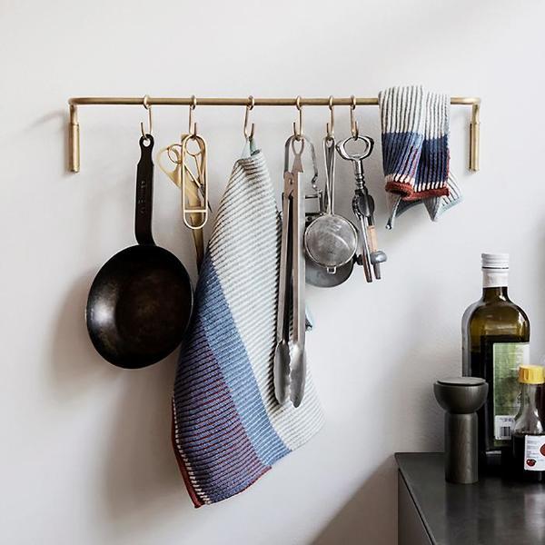 Ferm Living Kitchen Rod With Size Hooks - Brass