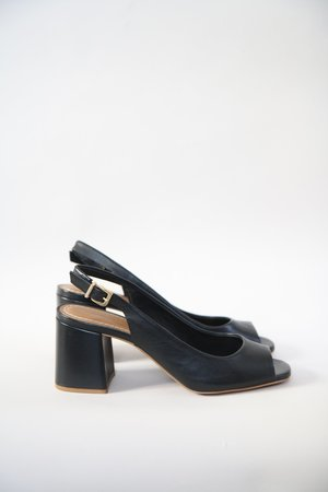 Roberto Durville Louise Leather Slingback - Black