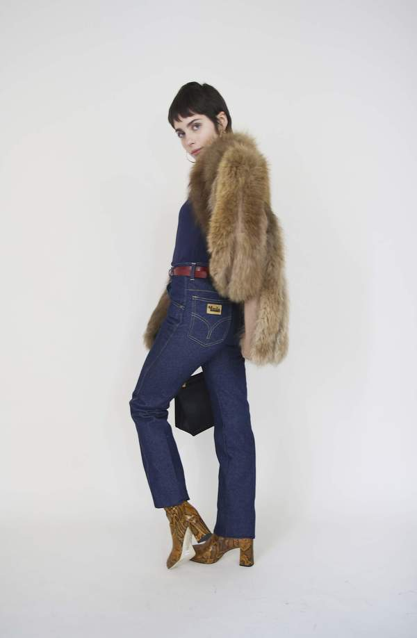 Bird On A Wire Vintage Fox Fur Coat - Brown