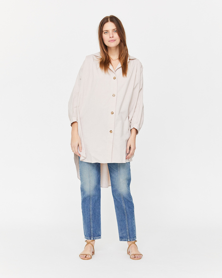Esby Chelle Oversized Button Down in Pearl