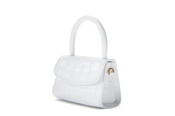BY FAR Mini Croco Embossed Leather Tote - White