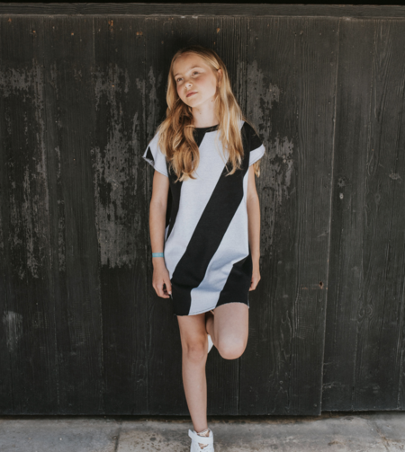 KIDS Andorine Nothing Is Black or White Striped Dress - Black/White