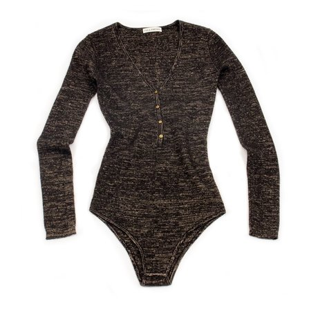Ulla Johnson Bessie Bodysuit - Charcoal/Gold