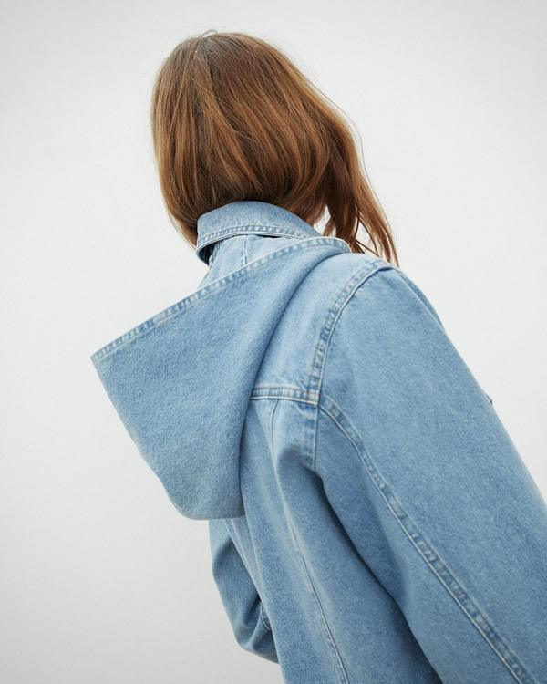 f3453e397 Nanushka MOJAVE Cropped boxy jacket with hood - 80's Wash