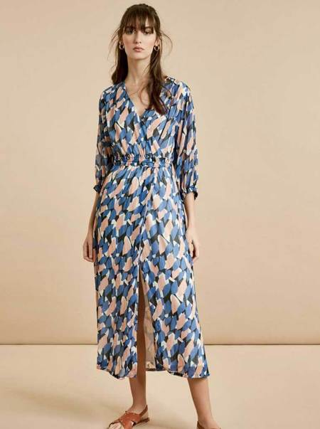 Suncoo Caline Lurex Geo Dress - Blue