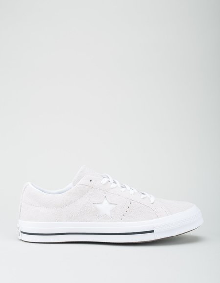 Converse One Star Vintage Suede Low Top Sneakers - White Monochrome