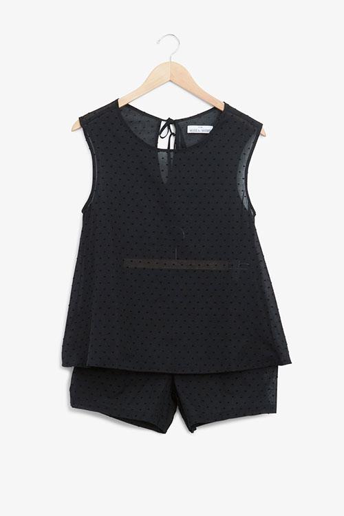 The Sleep Shirt Classic Top and Pleat Short Set Black Swiss Dot