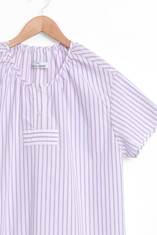 The Sleep Shirt Short Sleeve Nightshirt Raspberry Stripe