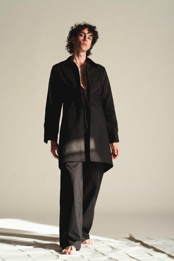 LUDOVIC DE SAINT SERNIN Tie Front Cotton Long Jacket - Black