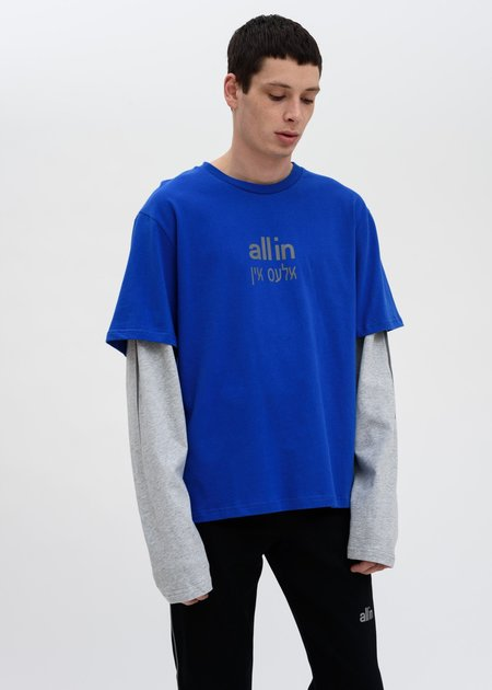 all in Yiddish LS T-Shirt - Blue/Grey