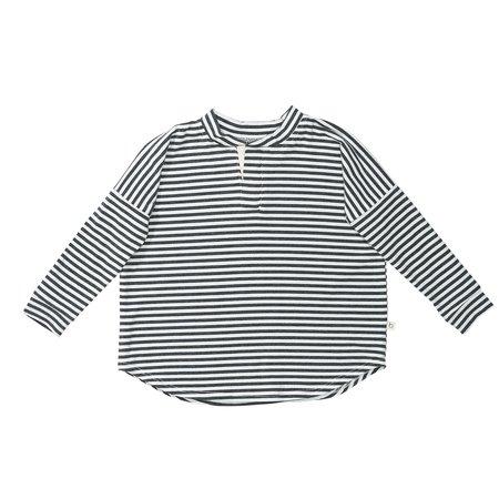 KIDS Bacabuche Long Sleeve Henley - Charcoal/Ivory Stripe
