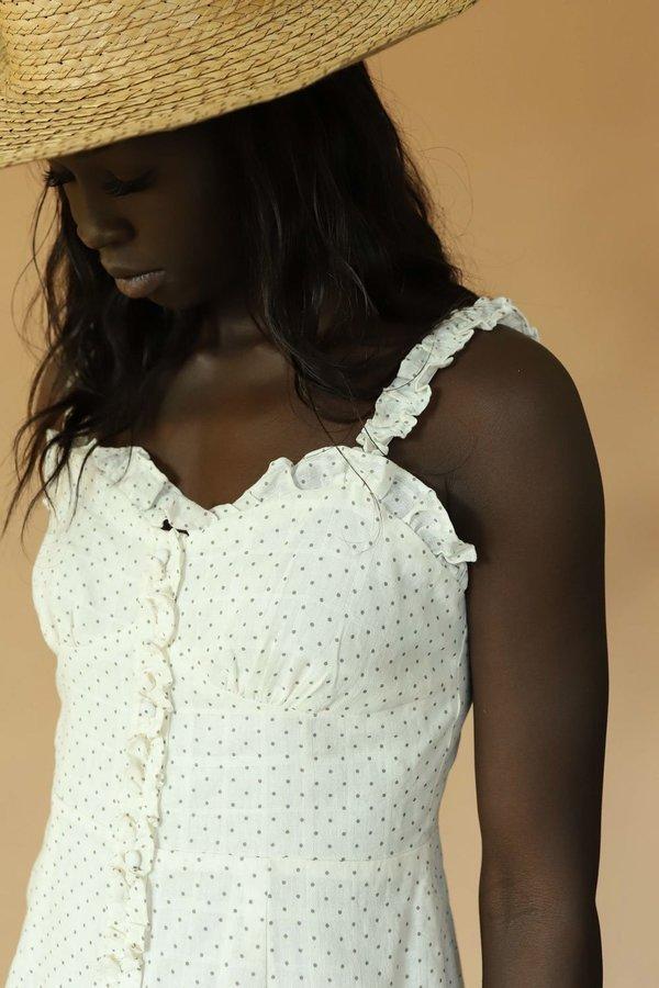 Line & Dot Lille Polka Dot Mini Dress - White
