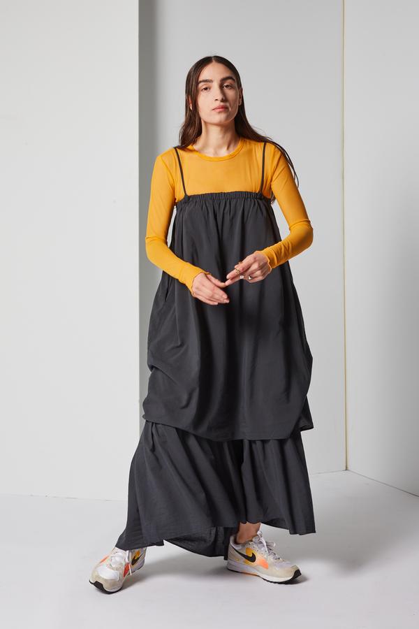 Black Crane Double Cami Dress